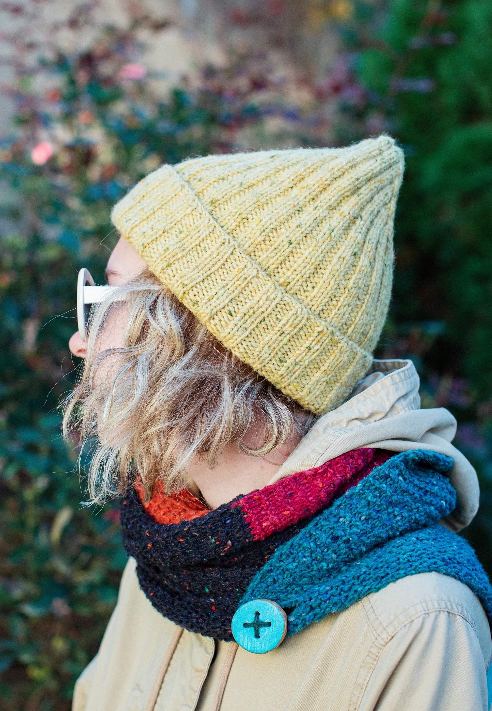 Knitted hipster hat (Tweed yarn)   Knitted hats, Hipster ...