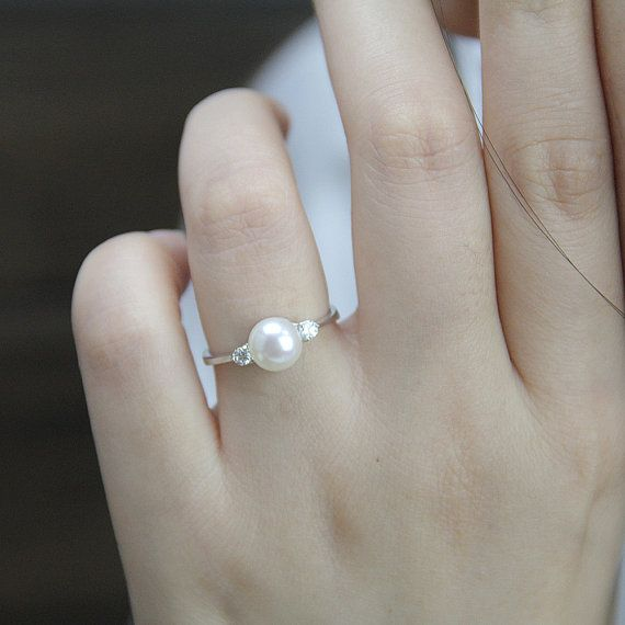 Freshwater round pearl Pearl ring Cultured pearl Real pearl ring,June birthstone Solitaire pearl 925 sterling silver ring Genuine pearl