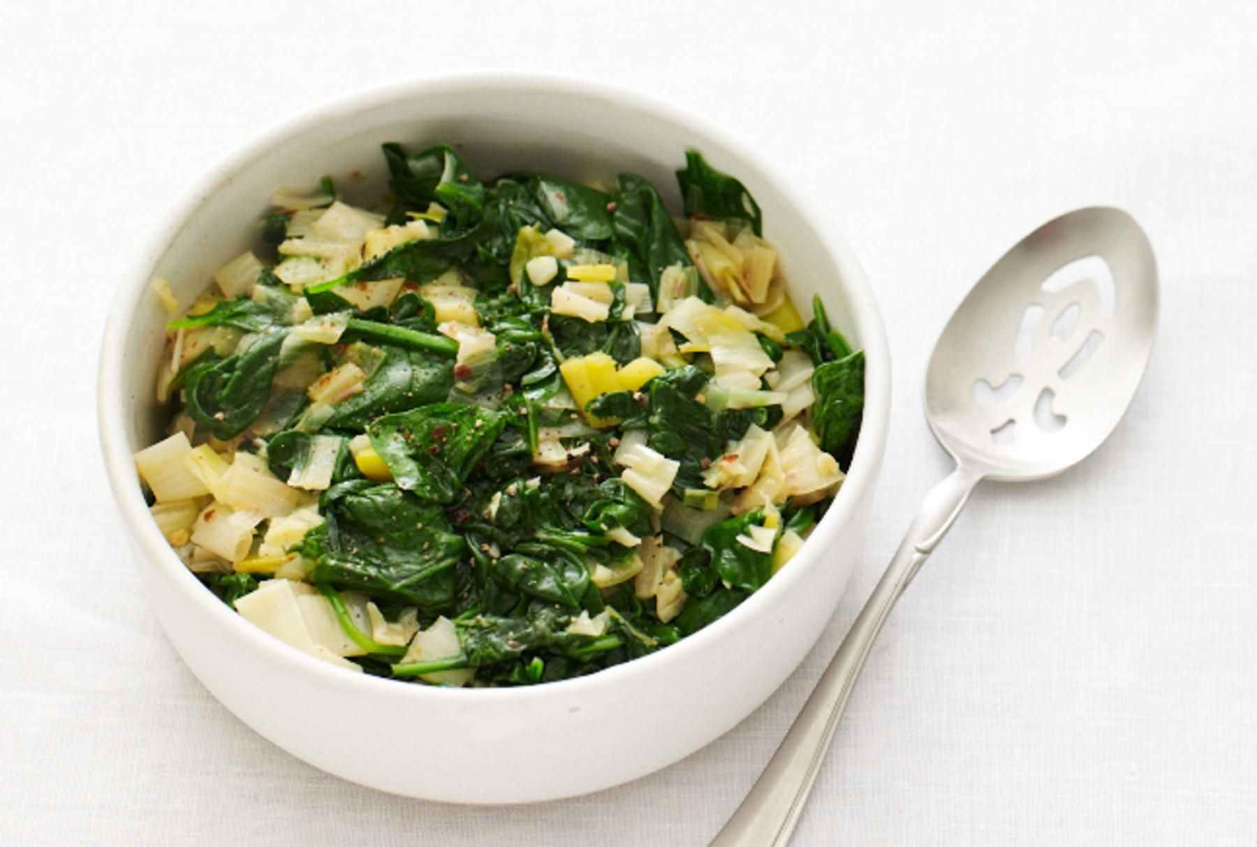 Spicy Sauted Leeks and Spinach.