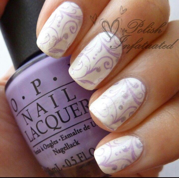 Purple White Purple Wedding Nails Bride Nails Wedding Nails