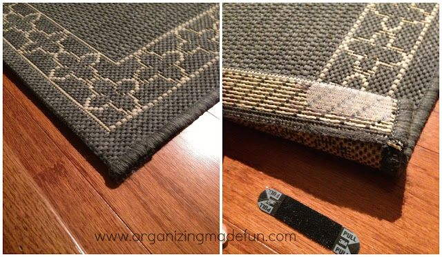 Rug anchor to keep rugs down | OrganizingMadeFun.com
