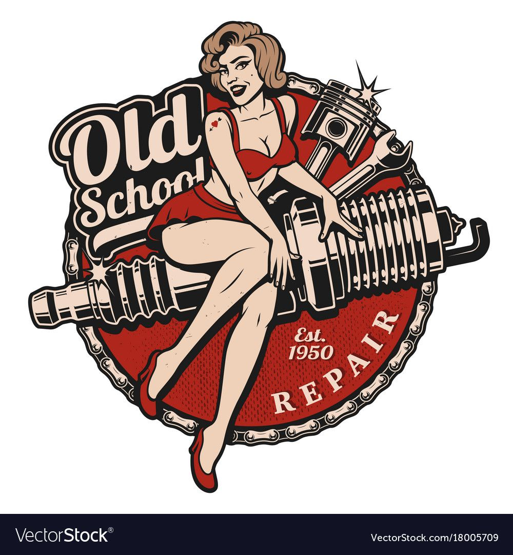 Spark Plug Pin Up Girl illustration with piston and wrench. Spark Plug Pin Up Girl illustration with piston and wrench. (Color version) All elements, text a Plotter Silhouette Portrait, Pin Up Girls, Piston Tattoo, Wrench Tattoo, Dibujos Pin Up, Rockabilly Art, Rockabilly Tattoos, Old Scool, Vw Touran