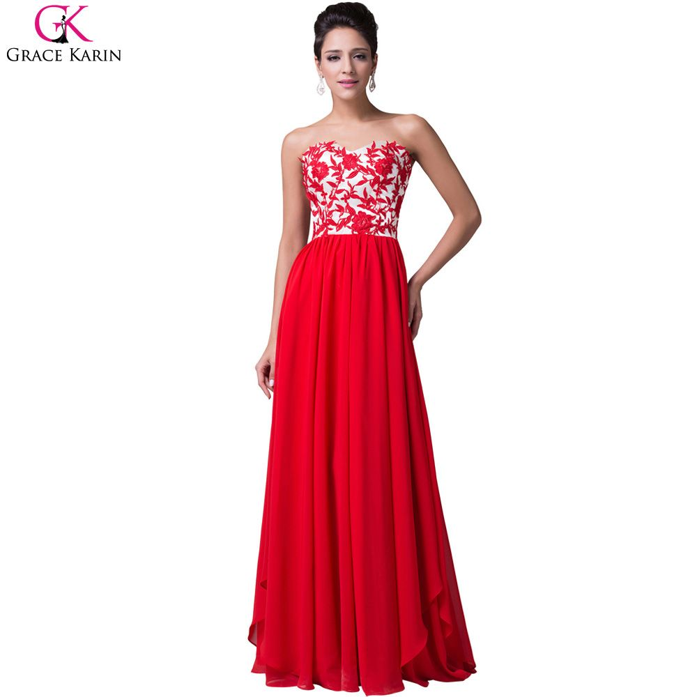 Red evening dress grace karin lace applique chiffon strapless