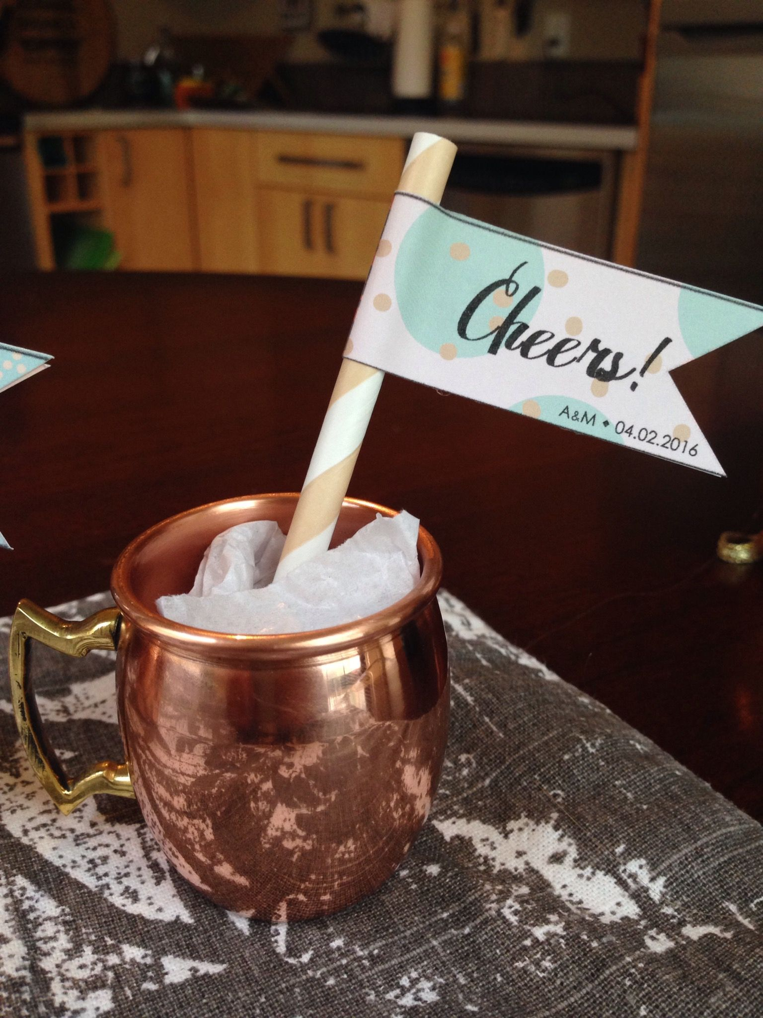 Our wedding favors Moscow Mule copper mug shot glass