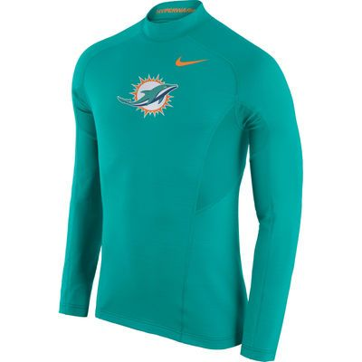 Men s Nike Aqua Miami Dolphins Hyperwarm Fitted Long Sleeve Performance T- Shirt 8cd17e9d2