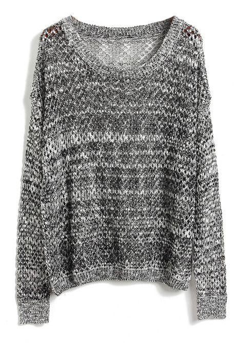 b41d32ba193a5 Grey Batwing Long Sleeve Hollow Kint Sweater - Sheinside.com ...