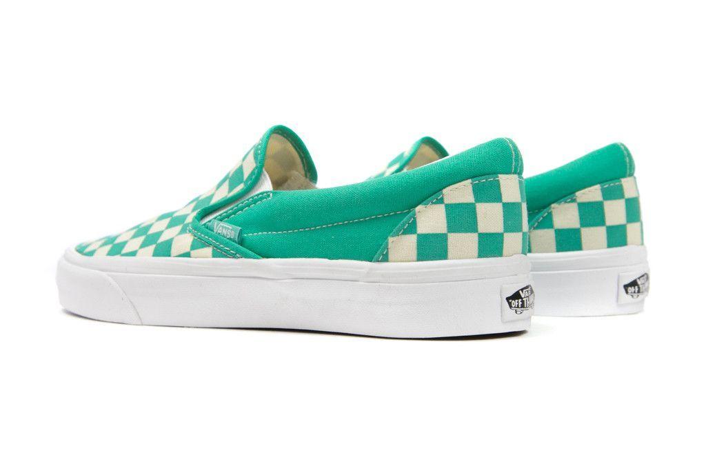 602b4cb413fe5e Vans Women s Checkerboard Slip-On - Aqua Green White