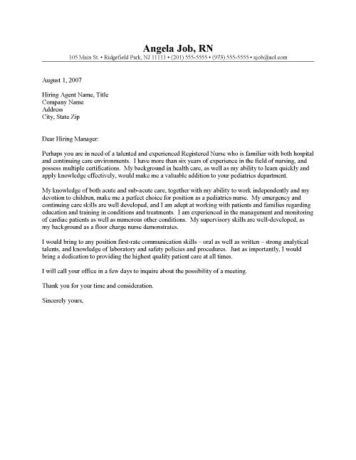 Nursing Cover Letter Format Experienced Nursing Cover Letter Sample