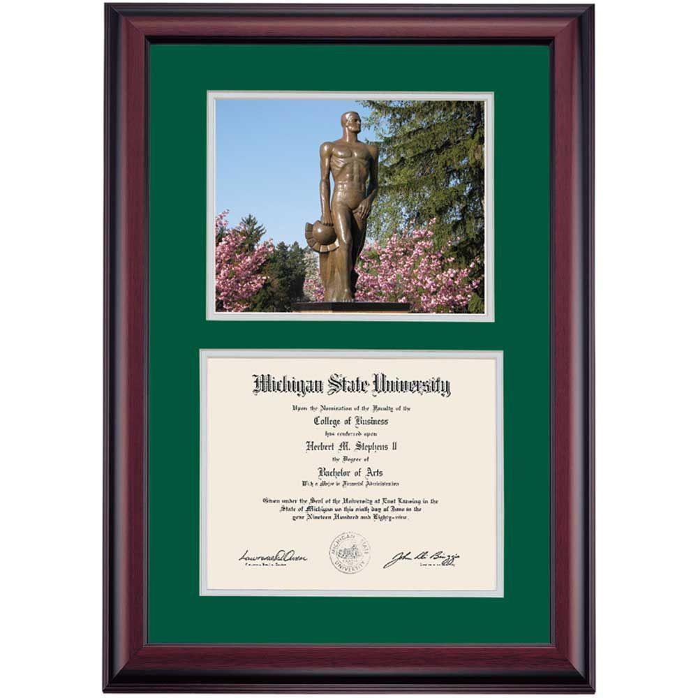 Michigan State School Color Premier The Spartan Photograph Diploma ...