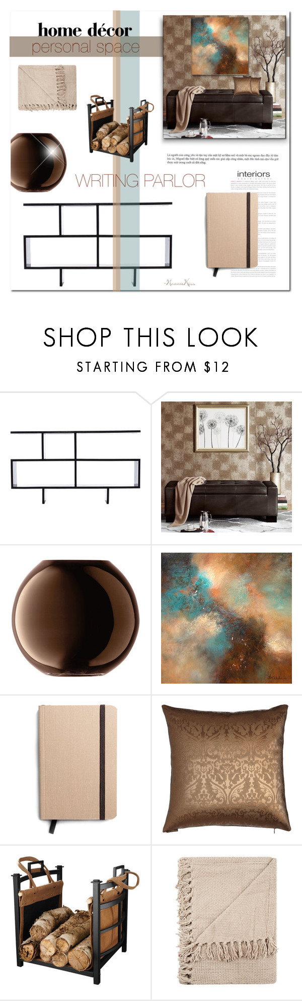 """Personal Space - Parlor"" by nonniekiss on Polyvore featuring interior, interiors, interior design, home, home decor, interior decorating, Madison Park, LSA International and Shinola"