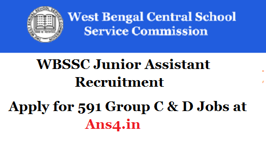 WBSSC has issued WBSSC Group C D Recruitment 2018. Apply for 591 WBSSC Junior Assistant Vacancy 2018 at www.wbssc.gov.in | Government jobs. How to ...