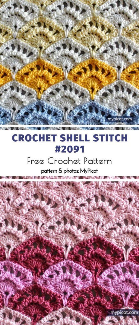 Stunning Shell Stitches #crochetstitchestutorial Crochet Shell Stitch #2091 Free…