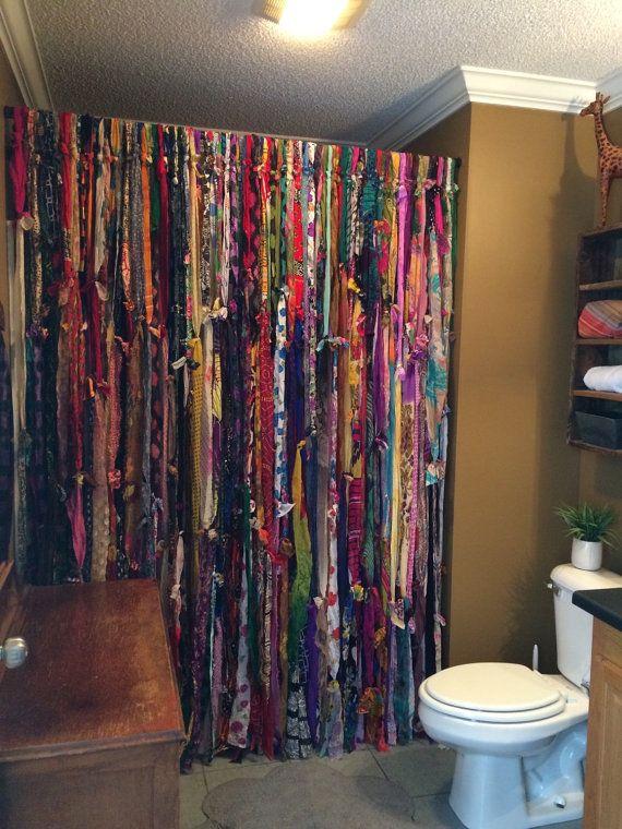 Handmade bohemian bathroom shower curtain salle de bains - Rideau boheme ...