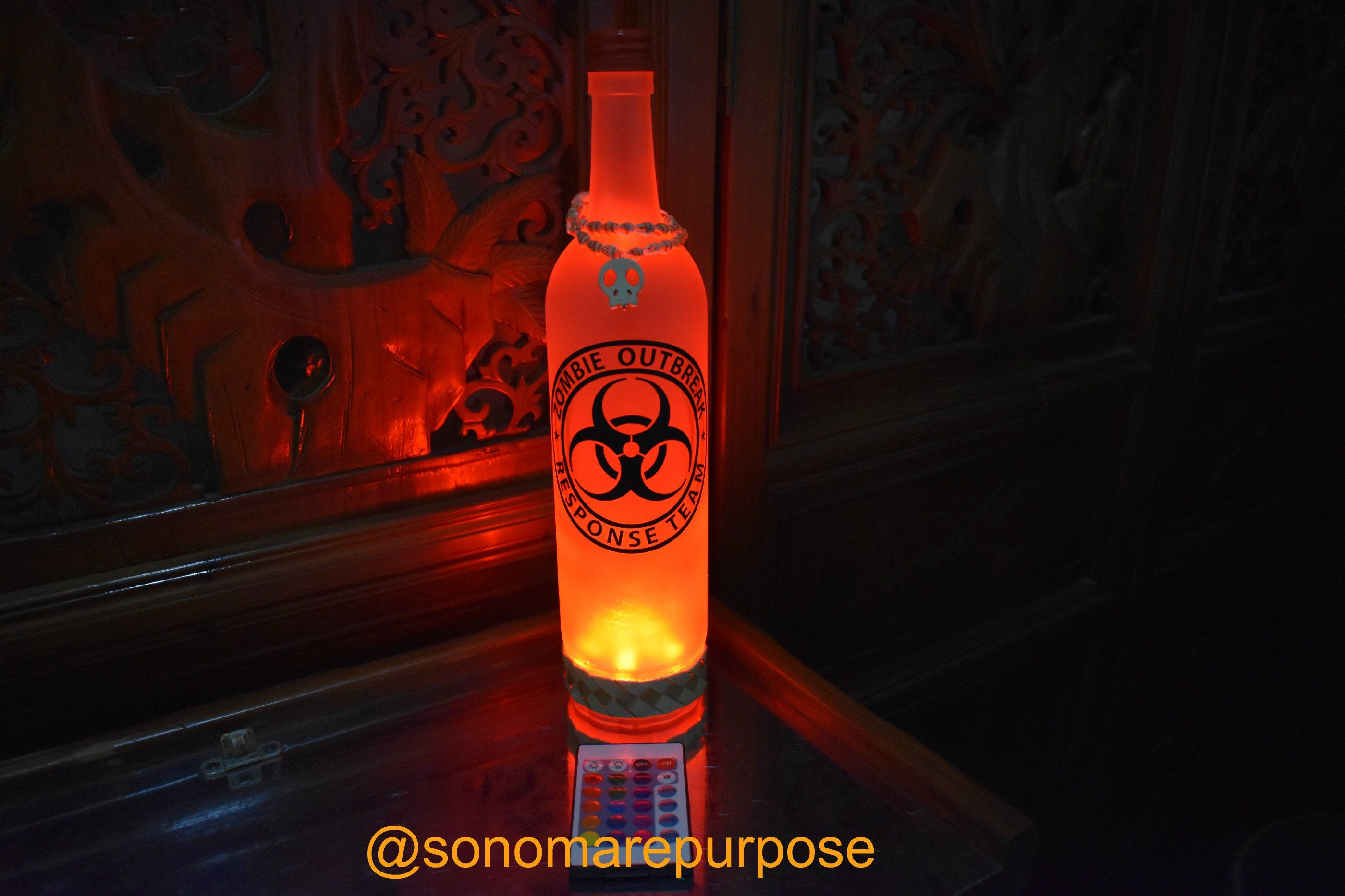 Frosted Wine Bottle Light Black Zombie Response Team With Vintage Sea Shell Topper Multi Color Lights Lighted Wine Bottles Bottle Lights Wine Bottle Tiki Torch