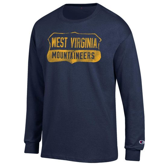 70d2b2a25 ... or cheering on your Mountaineers in your favorite sporting event,  represent them well with this classic Champion West Virginia navy long  sleeve tee.