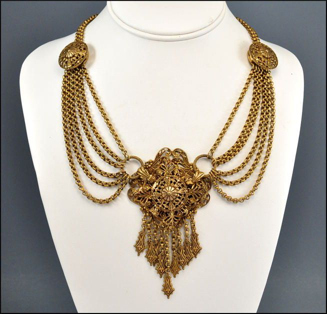 Bracelets The Deco Haus Tagged Gold: Art Deco Necklace Bib Gold Swag Chain Filigree Pendant