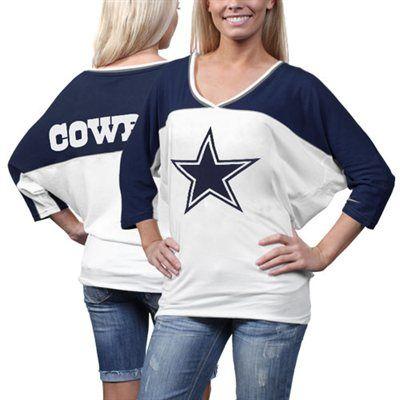 7c52545cd #fanatics Nike Dallas Cowboys Ladies Football Style Three-Quarter Sleeve T- Shirt - White/Navy Blue