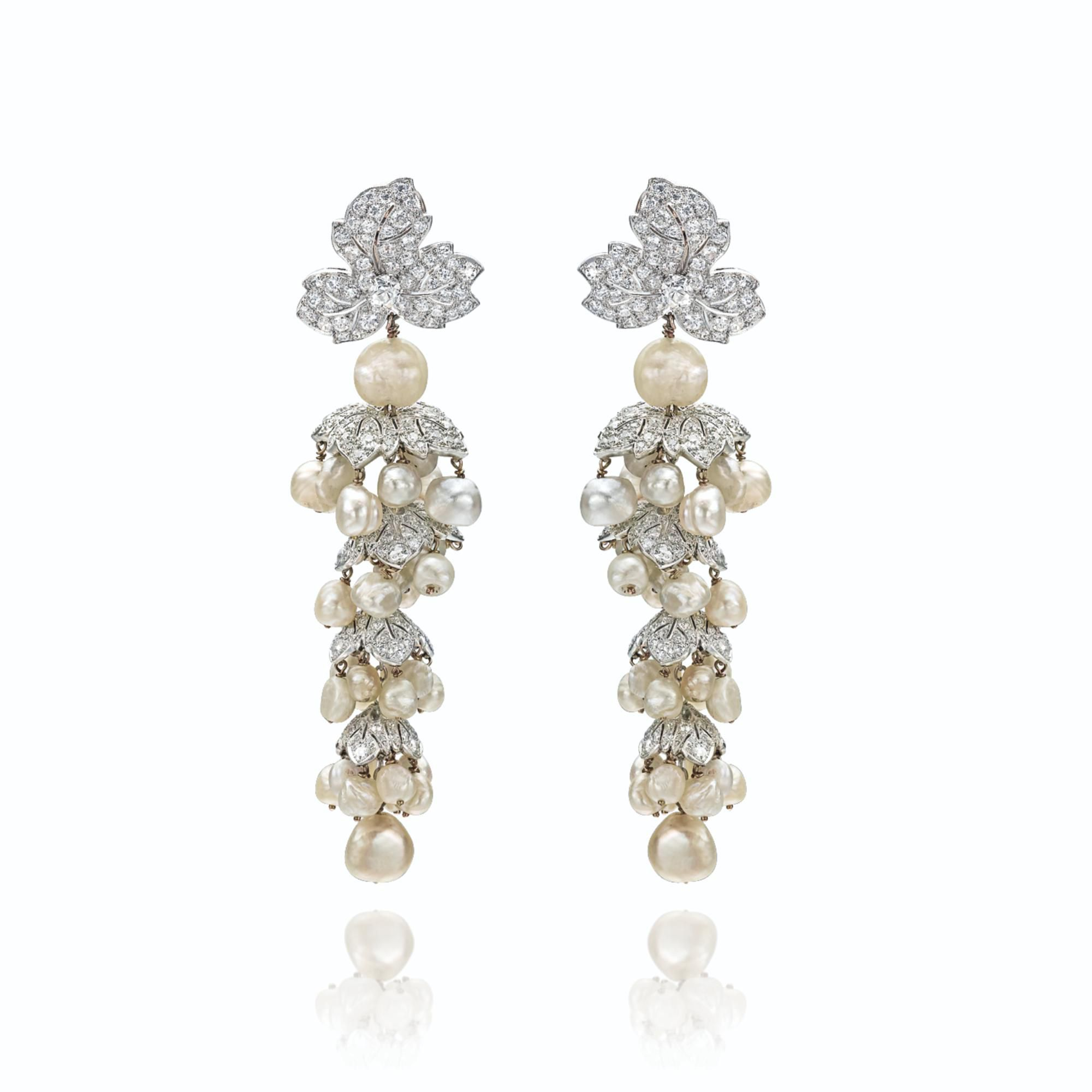 Pair of diamond and pearl pendant earclips | lot | Sotheby's