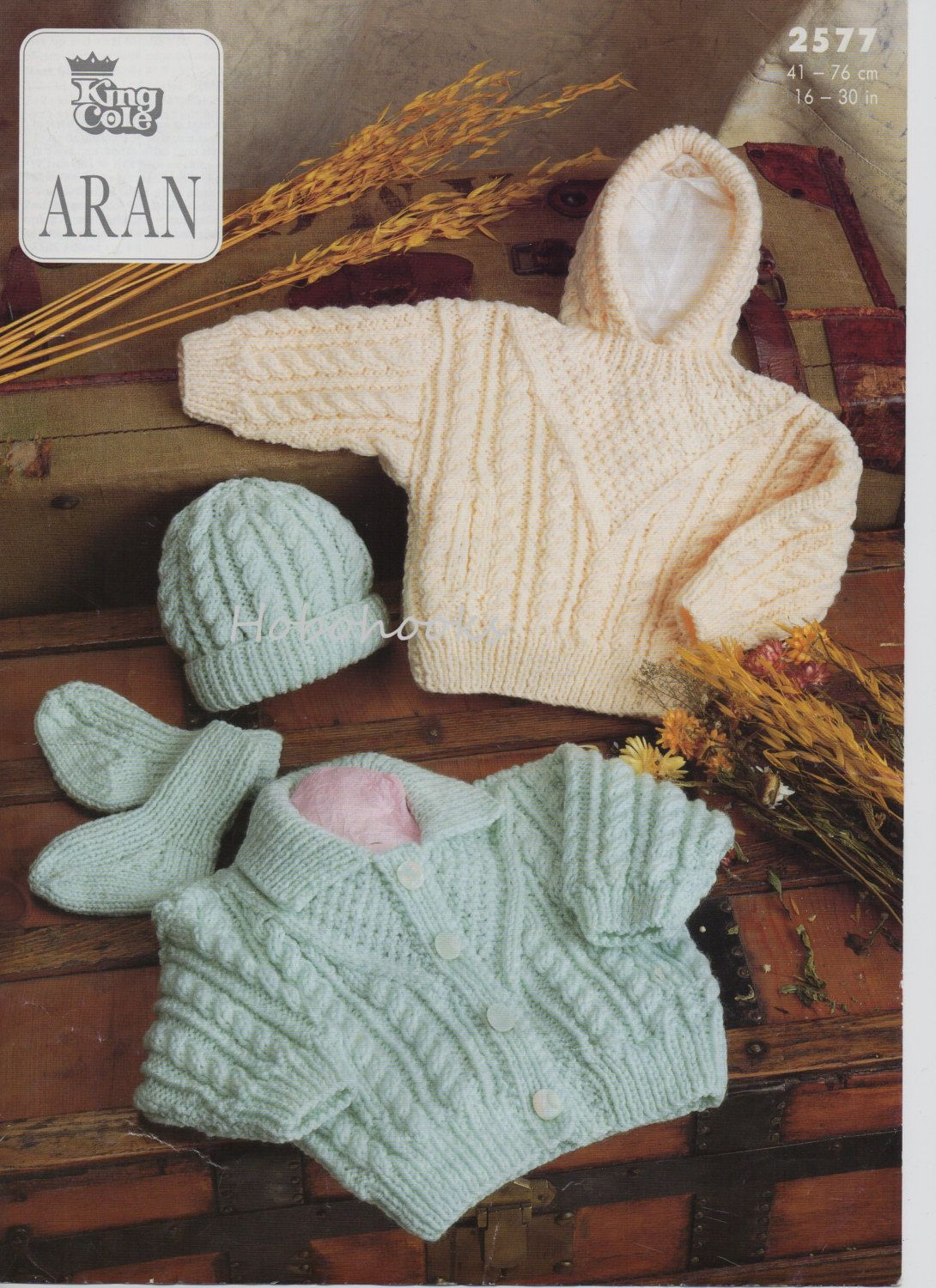 Baby childs childrens aran cardigan aran sweater with hood hat ...