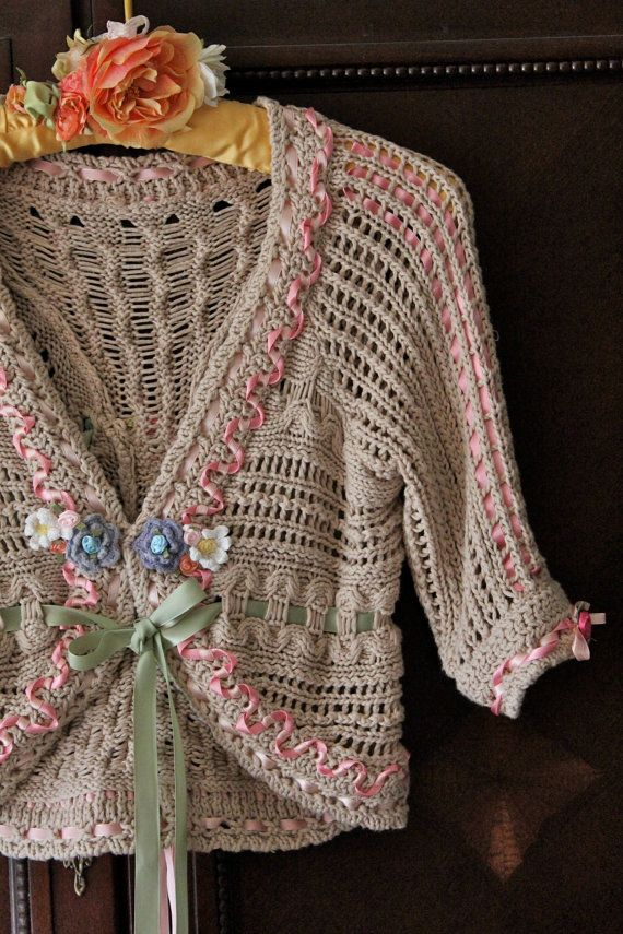 Tea and Roses Crocheted Shrug Victorian Style Ribbons and Roses ...