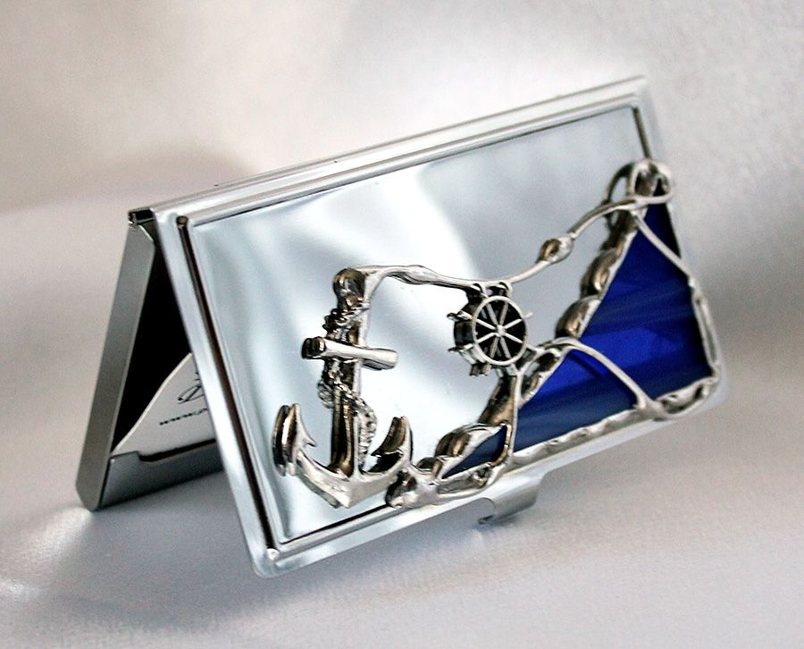 Elegant metal business card holder decorated with glass, stained ...