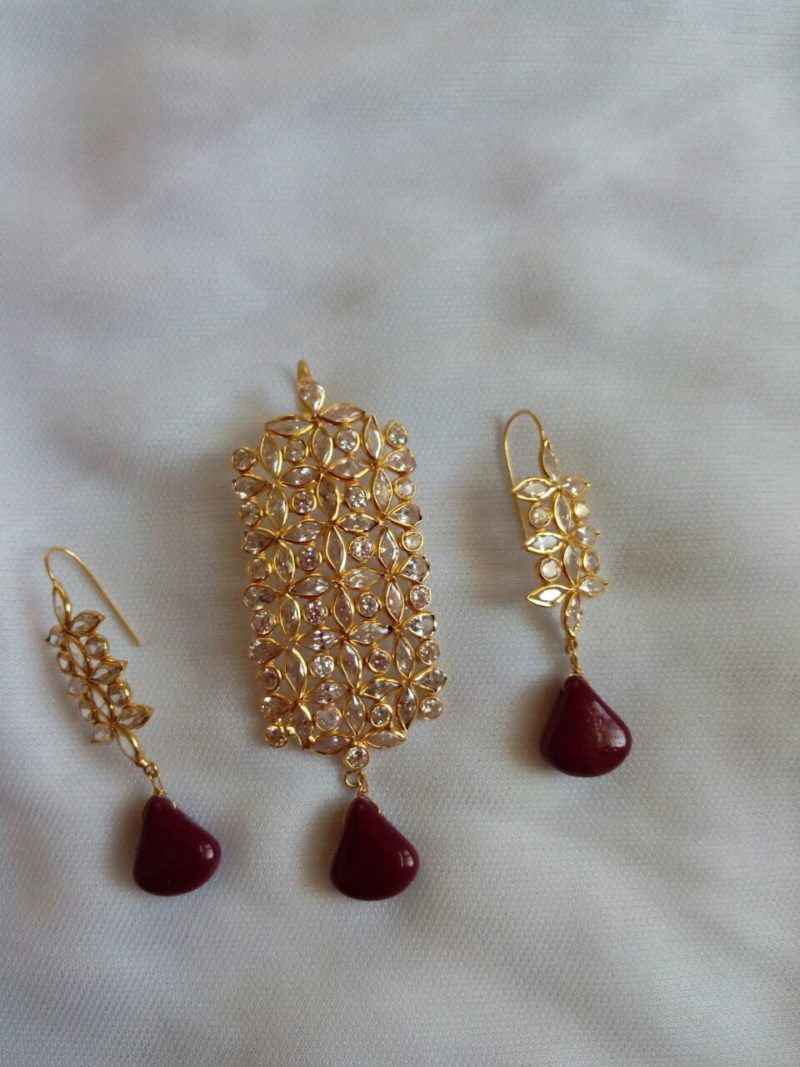 Light Weight Pendant Set studded with CZs and Ruby Drops from Anitha