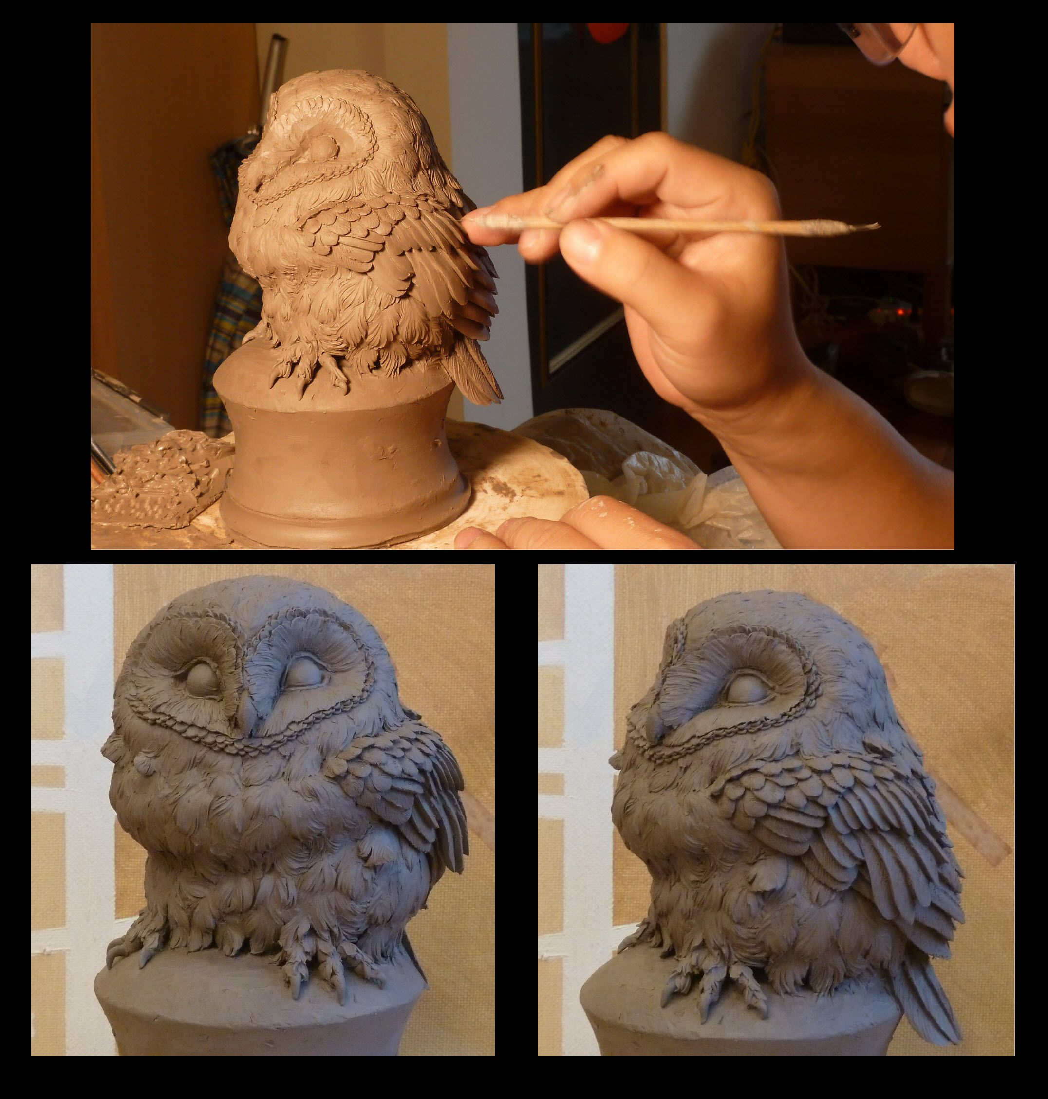 Owls Clay sculpting | Ted Playing work pottery owls ...