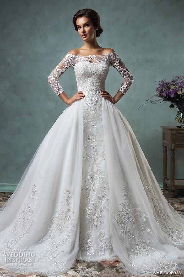 amelia sposa 2016 wedding dresses off the shoulder lace long sleeves overskirt stunning ball gown wedding dress celeste.