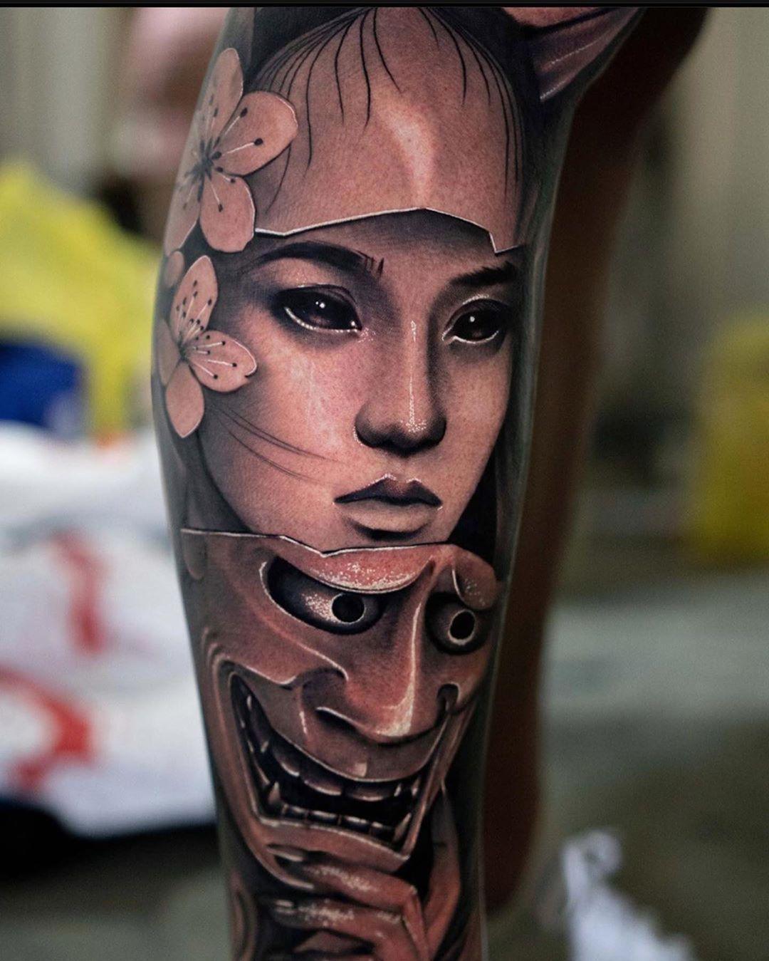 Beautiful Hannya mask piece done at