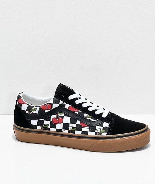 Vans Old Skool Cherry Black & Gum Checkered Skate Shoes (con ...