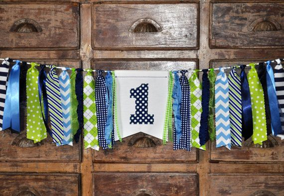 Boys navy blue, green & light blue first birthday highchair banner, fabric…