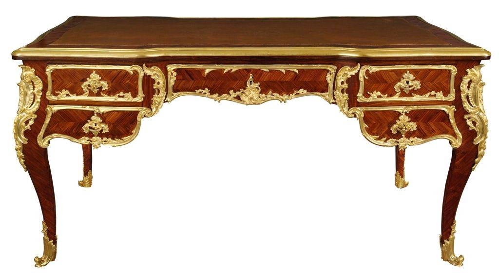 bureau plat style louis xv signe francois linke la tour camoufle mobilier objets et tableaux du 18eme et 19eme siecles