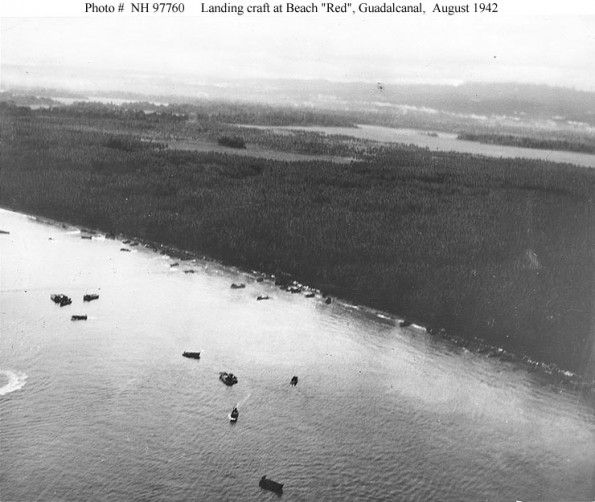 """Solomon Islands Beach: AUG 8 1942 Japanese Counter-attack U.S. Marines On Guadalcanal Landing Craft Off Beach """"Red"""" On"""