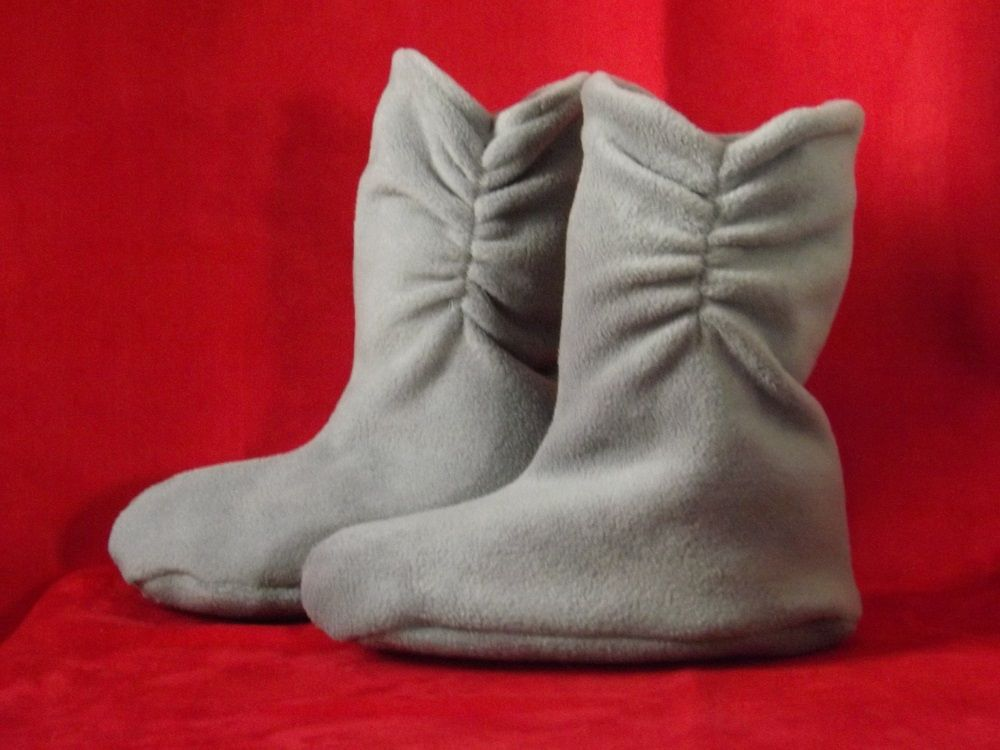 $20.00 GRAY Polar Fleece Slippers Booties for babies to adults.  Selection of colors. SewingMemere.etsy.com