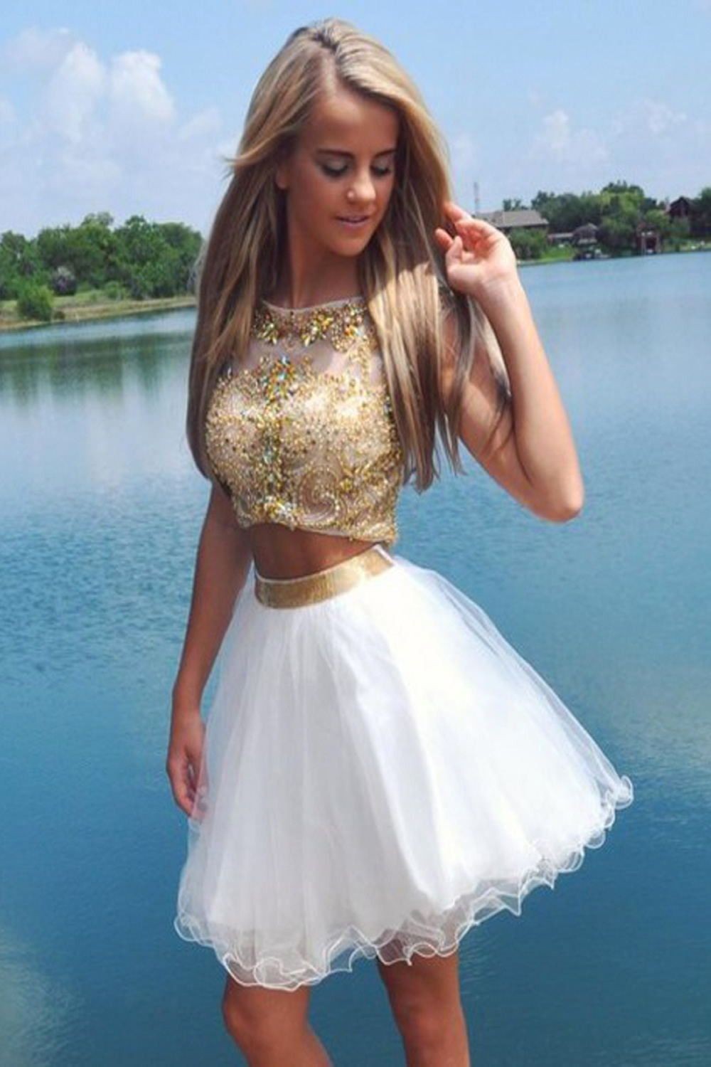 Hot Sale 2 Pieces Beading Short Cute Homecoming Dresses K132