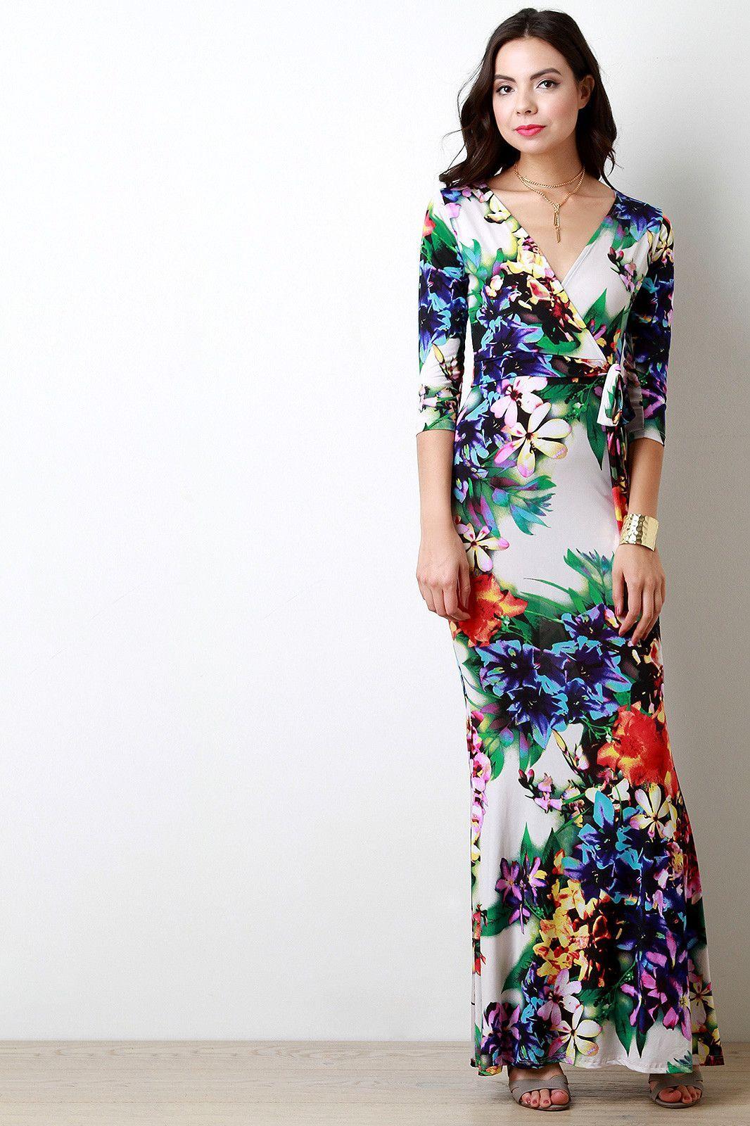 Floral print surplice waist sash maxi dress products pinterest