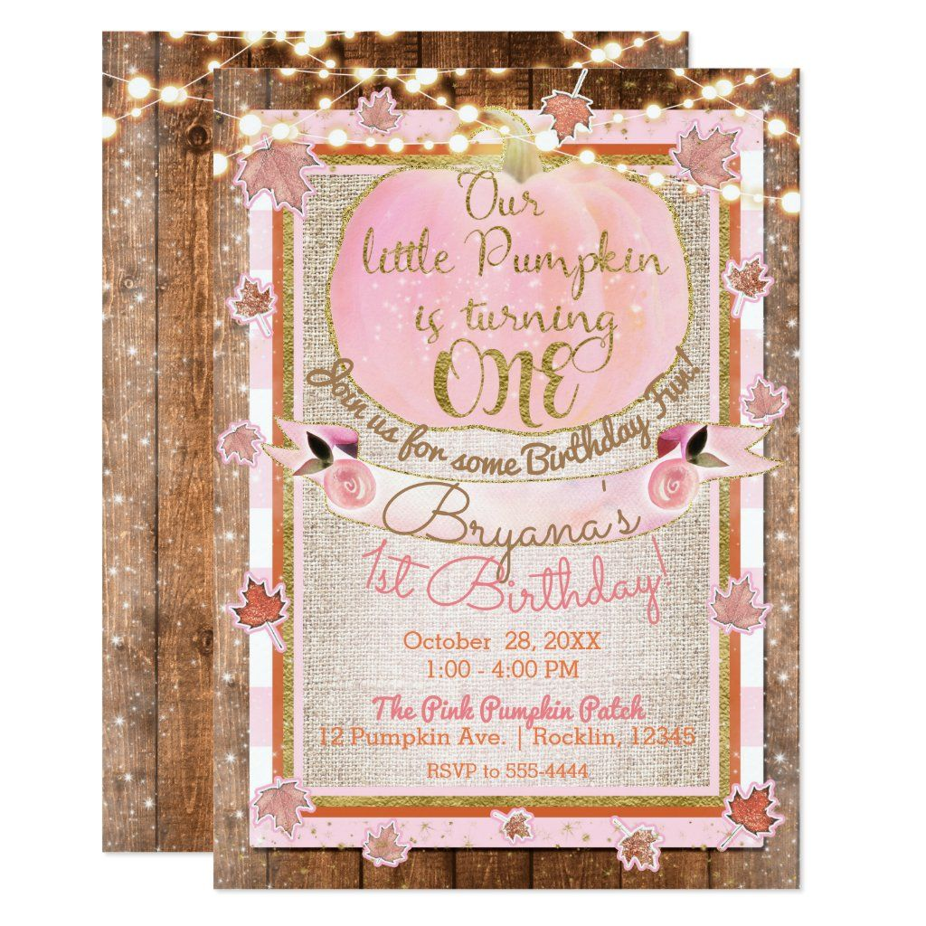 Pink Pumpkin Autumn Leaves Rustic 1ST Birthday Invitation