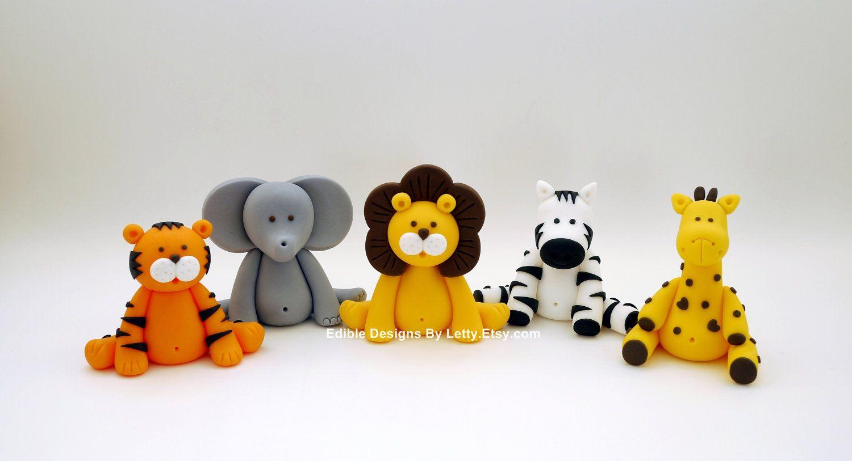 3 Edible Fondant Jungle Animals Cake Toppers. $39.00, via Etsy.   Kager   Pinterest   Kage