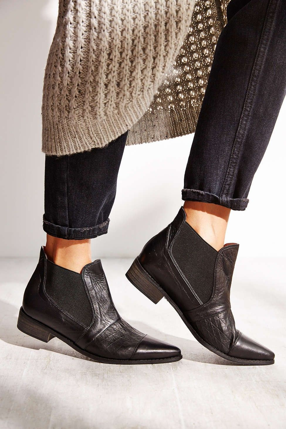 pointy toe low stacked heel black ankle chelsea boots - booties