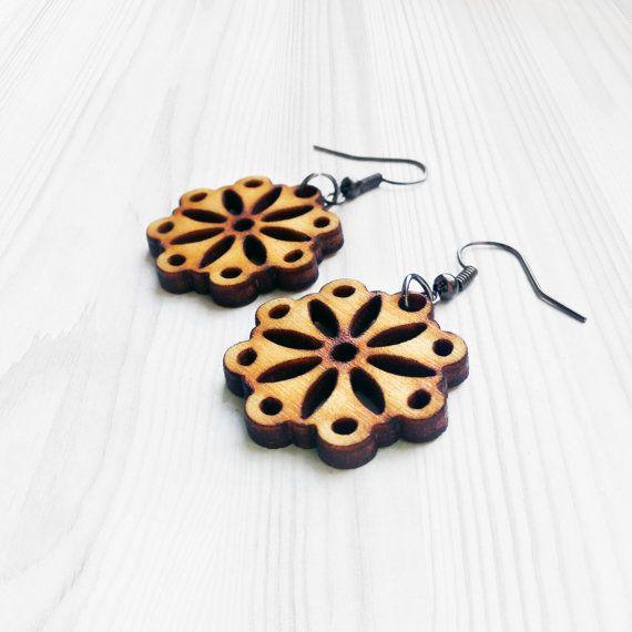 Small Mandala Earrings Wooden Earrings Minimal by alysonprete