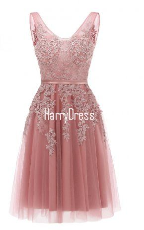Pink Appliqued Sleeveless Knee Length Tulle V Neck Homecoming Dress