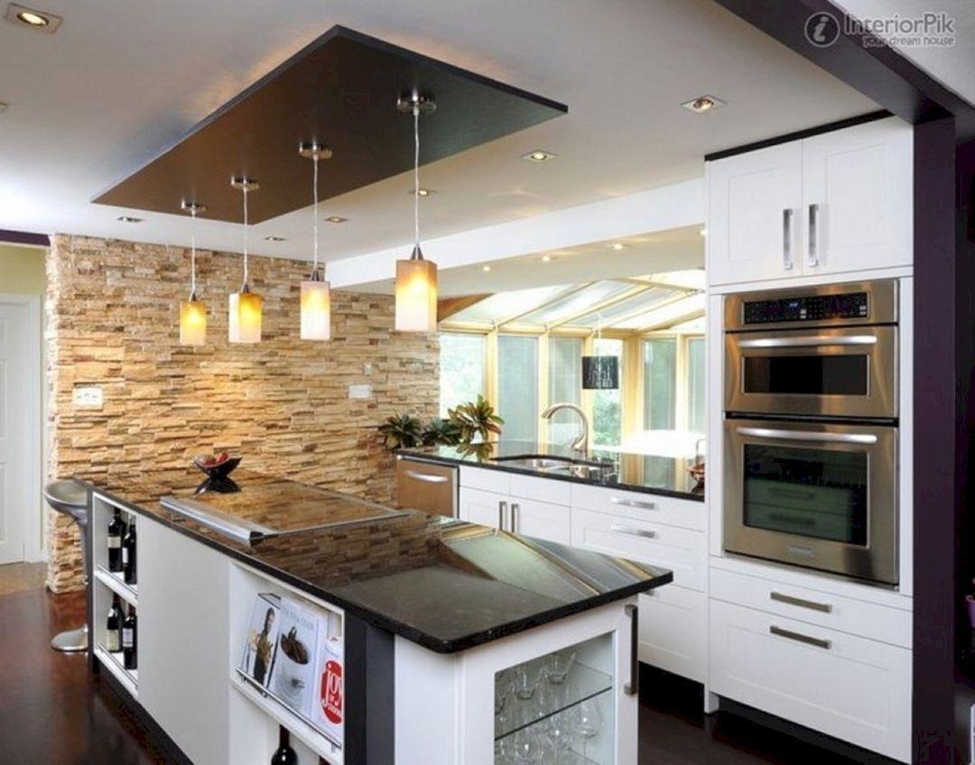Stunning Kitchen Wall Stone Teracee In 2021 Kitchen Ceiling Design Kitchen Ceiling Kitchen Design Kitchen ceiling design ideas
