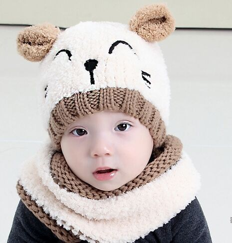 f9da618ff Cute Cat Knitted Baby Caps and Scarves Boys Girls Toddler Crochet ...
