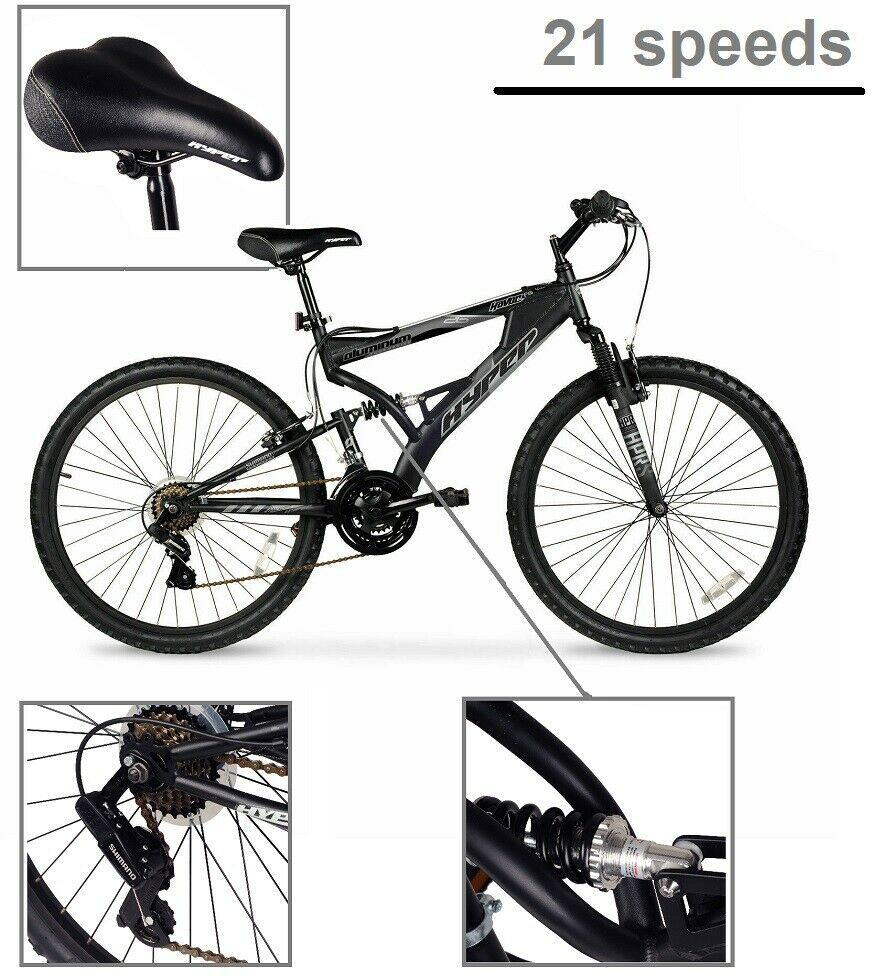 "Mens Mountain Bike Bicycle 21 Speed Shimano Aluminum Full Suspension Black 26/"""