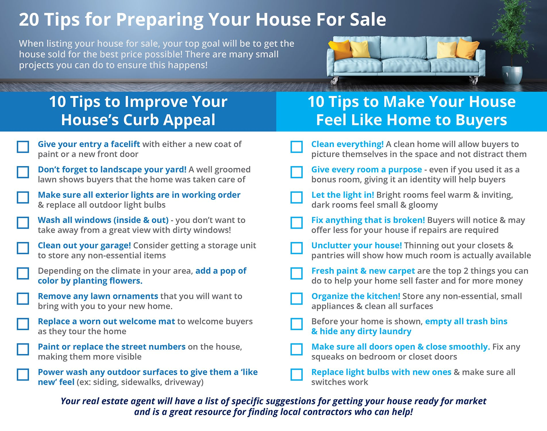 20 Tips For Preparing Your House For Sale This Spring Infographic With Images Home Selling Tips Real Estate Tips Selling House