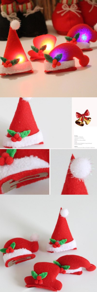 3D Flashy Santa Claus Snowman Hat Style Hairpin