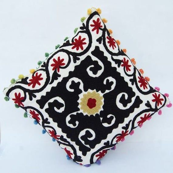 Maxican Cushion Covers Colorful Pillow Cover Boho Pillow Cover Indian Embroidered Cushion Cover Handmade Cushion Cover Throw Pillowcases