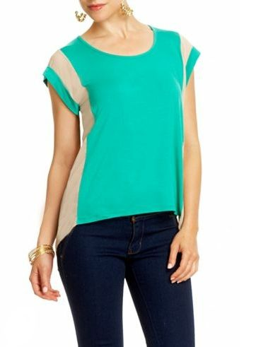 color block chiffon paneled top from 2B... LOVE!