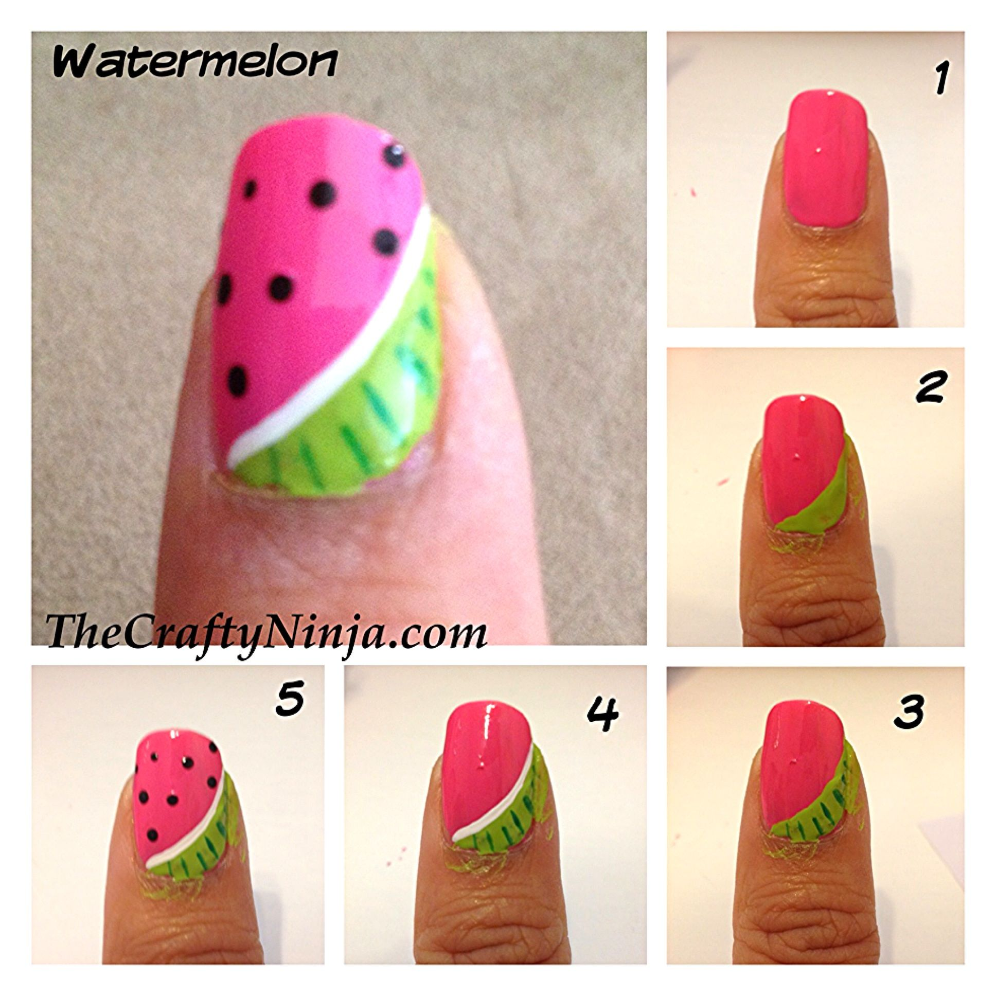 Sandias Decoradas Watermelon Nail Tutorial D Tutoriales De Uñas Nails