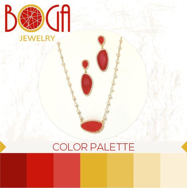 Juego de aretes y collar de perlas con dije en tono rojo. Encuéntralos en nuestra isla en el C.C. San Marino #bogalovers #bogajewelry #sanmarino #colorpalette